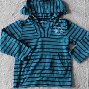 Old Navy Striped Teal Blue Hoodie * Size 5